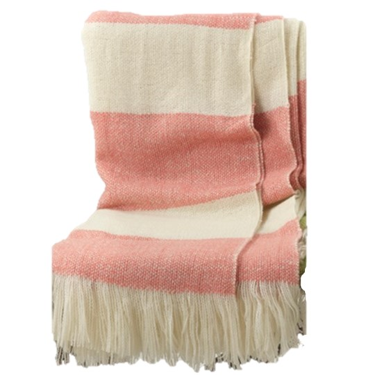 Pink And Ivory Throw Blanket Salty Home