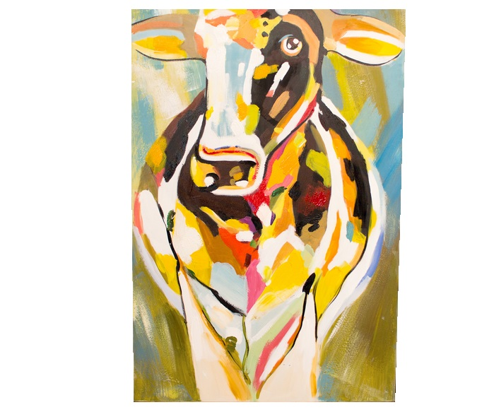 Colorful Cow Oil Painting | Salty Home