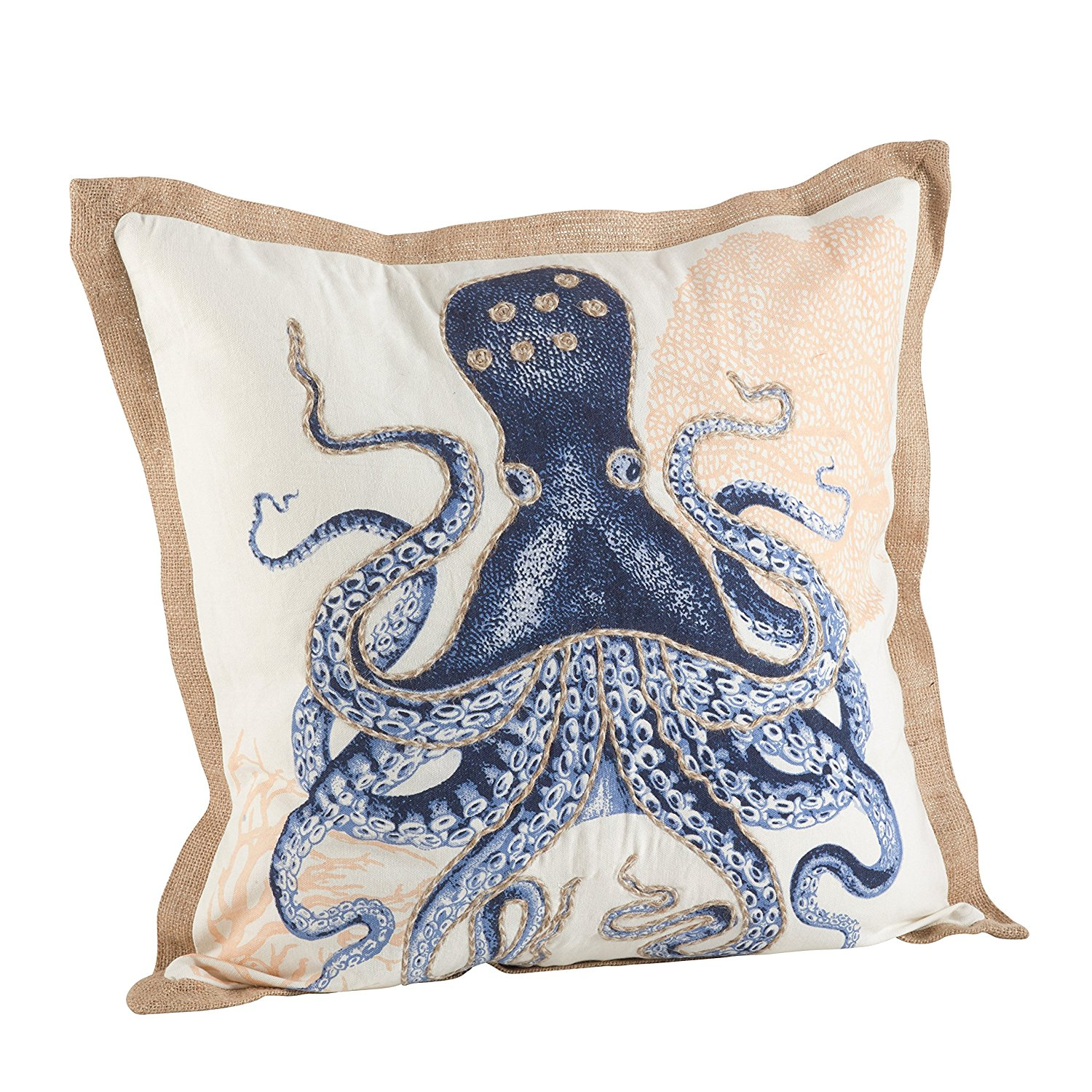 Nautical Down Filled Throw Pillow (Octopus) Salty Home