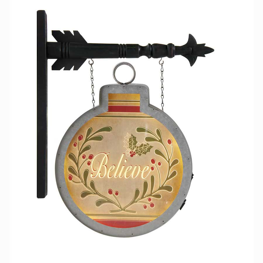 Christmas Arrow Signs.Led Believe Ornament Arrow Replacement Sign