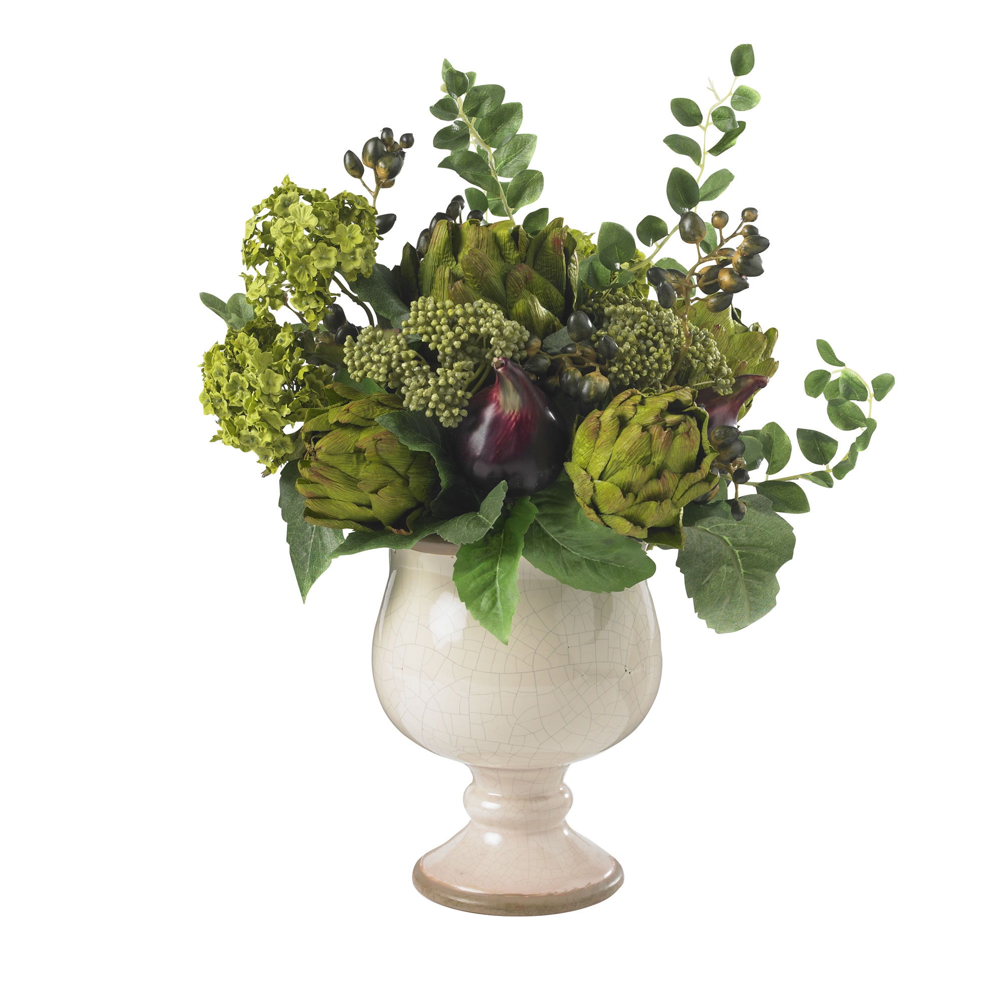 Artichoke And Hydrangea Silk Flower Arrangement Salty Home
