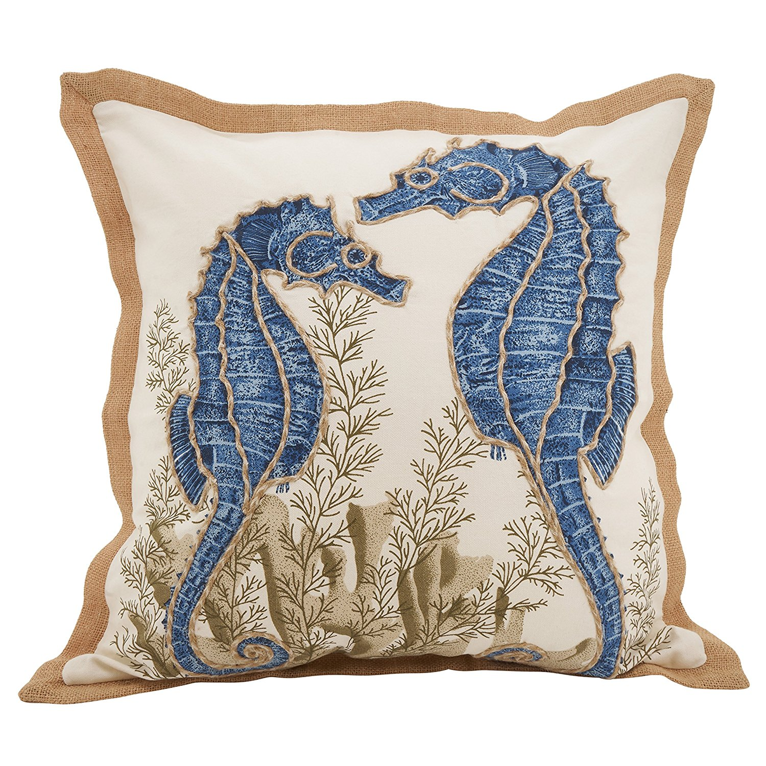 Nautical Down Filled Throw Pillow Seahorse Salty Home