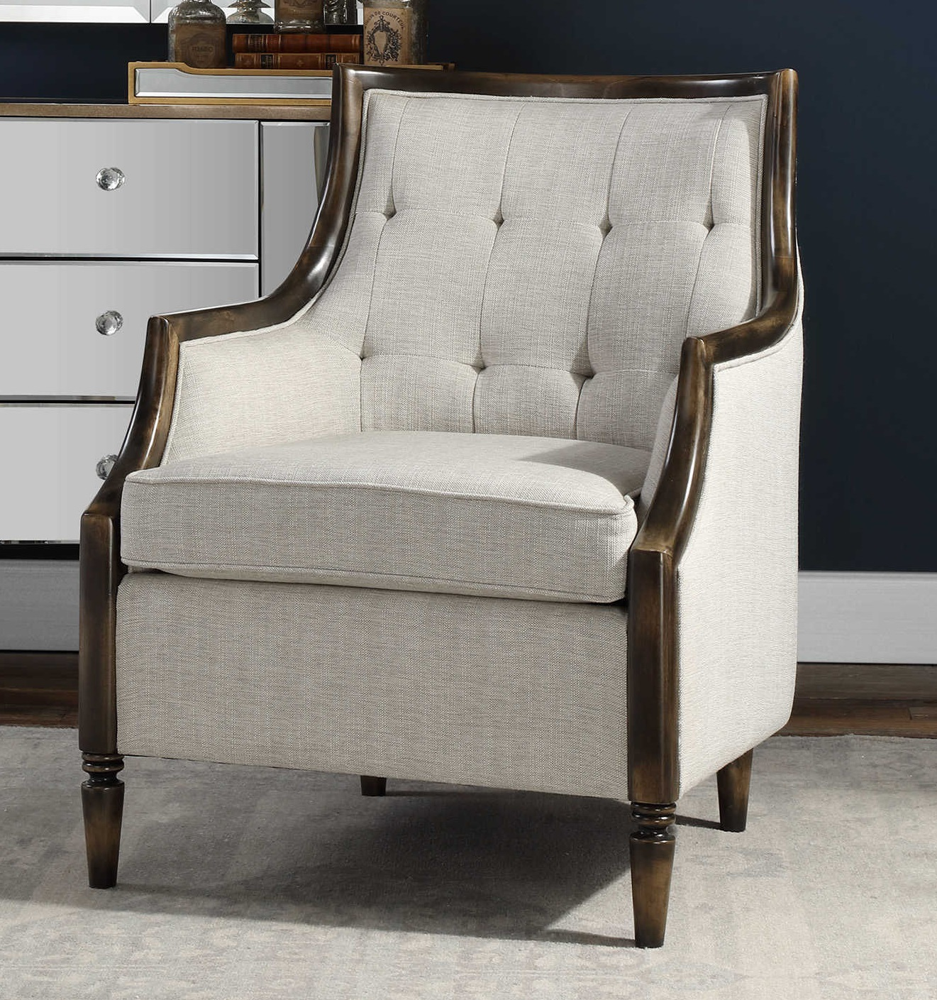 876 00 High Back Accent Chair Offering Supportive Comfort With Its Tufted In