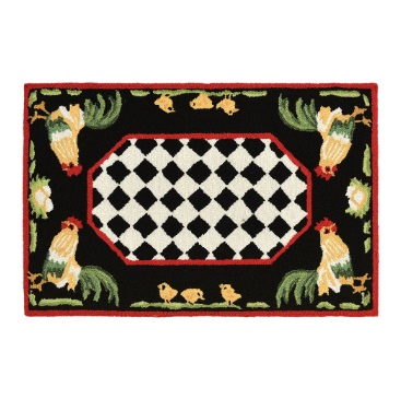 Roosters Black Corners Outdoor Indoor Rug Collection Salty Home