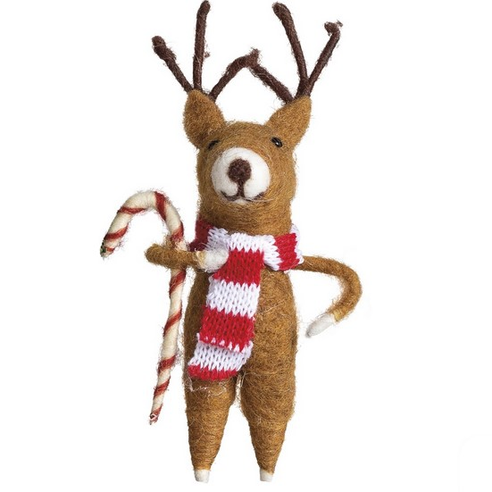 7507ffd3f95 Felted Reindeer With Candy Cane Christmas Ornament
