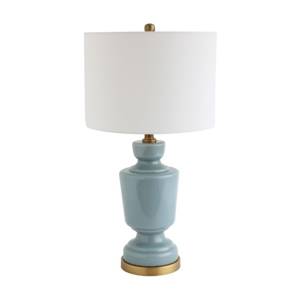 Blue Glass Table Lamp With Fabric Shade Metal Base Salty Home