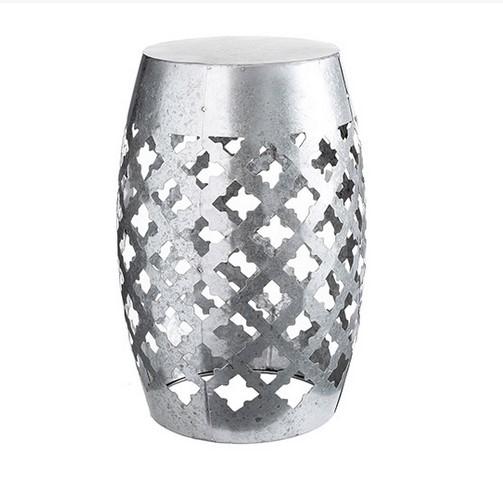Incredible Decorative Silver Metal Garden Stool Laser Cut Quatrefoil Evergreenethics Interior Chair Design Evergreenethicsorg