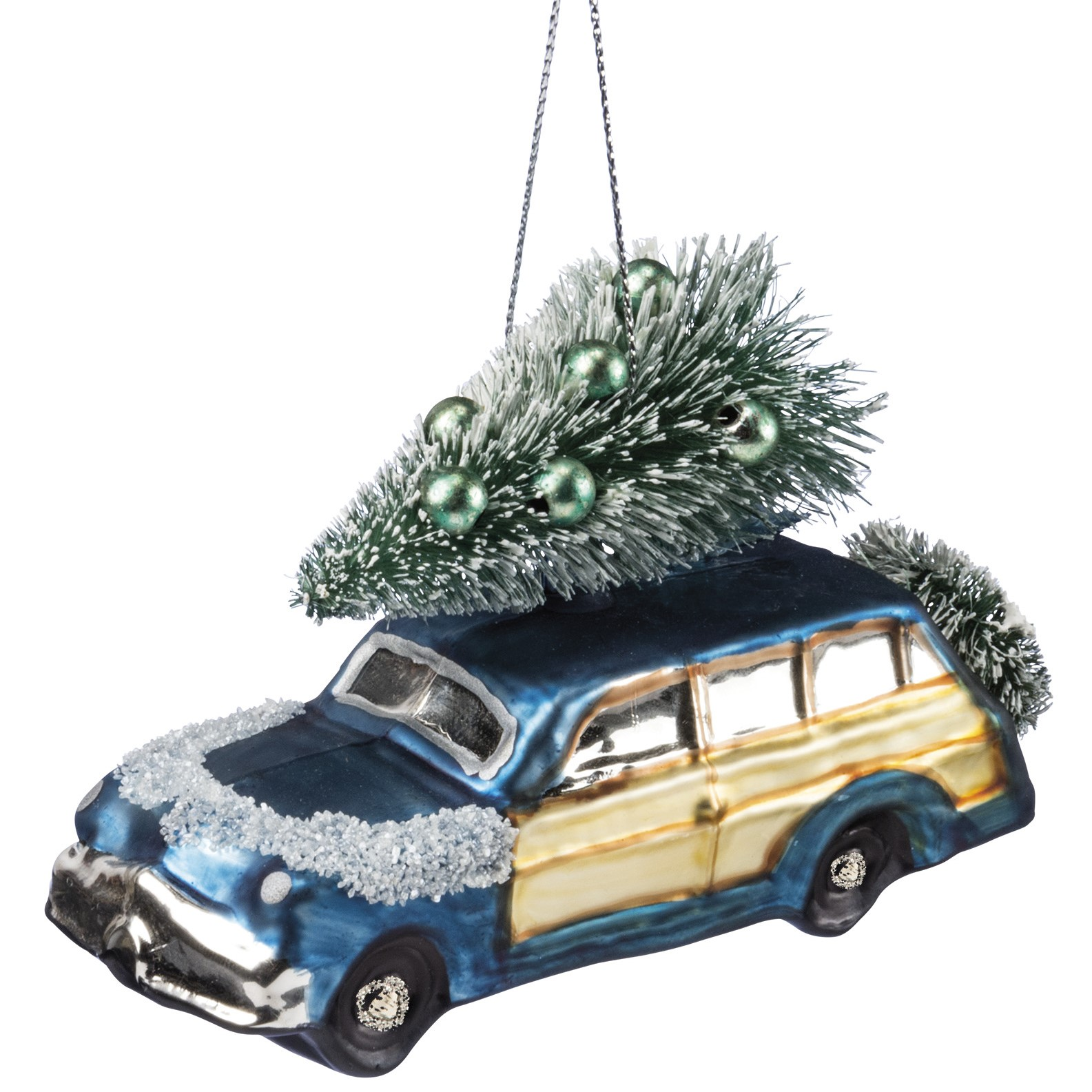 Blue Car Wagoneer Glass Christmas Tree Ornament Salty Home