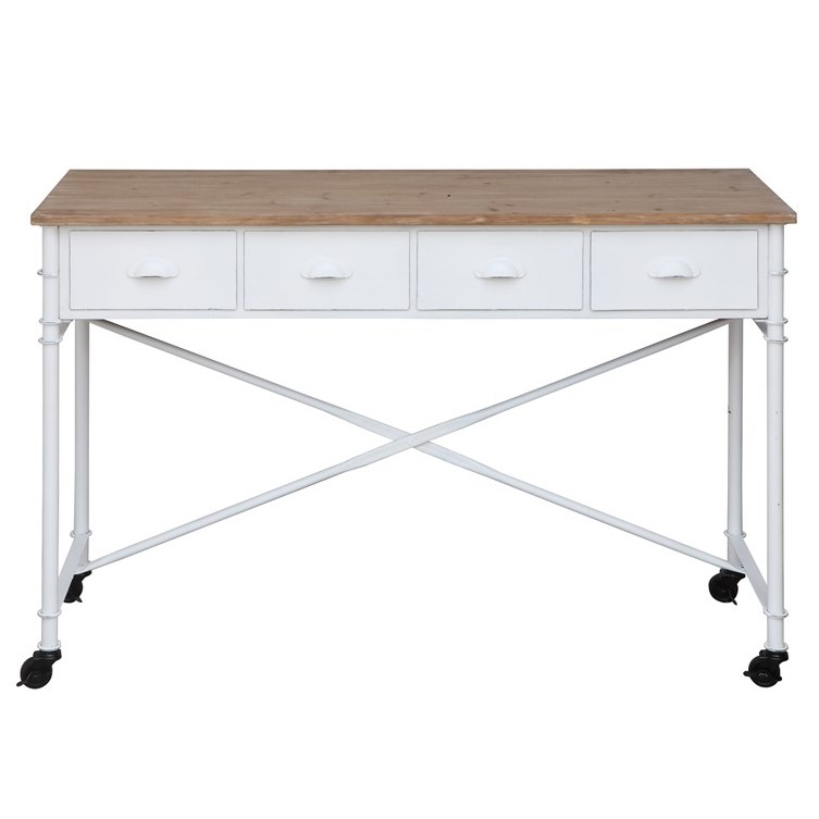 Antique White Metal Wood Table Desk On Casters Salty Home